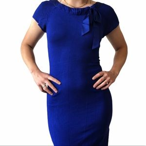 H&M Royal Blue Silk Bow Fine Knit Party Dress XS